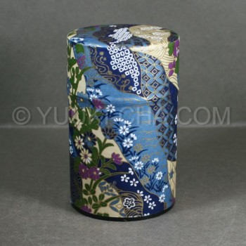 Blue Kiku Washi Green Tea Canister