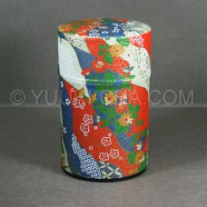 Red Blue Cream Kiku Washi Green Tea Canister
