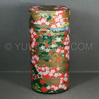 Dark Green Kyoto Landmark Washi Green Tea Canister