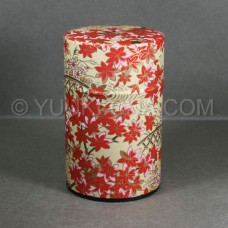 Beige Momiji Washi Green Tea Canister
