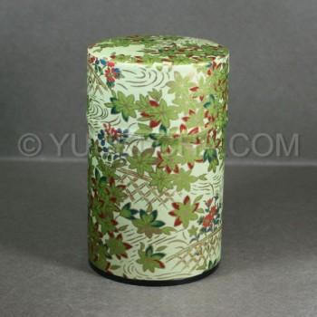 Green Momiji Washi Green Tea Canister