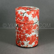 White Momiji Washi Green Tea Canister