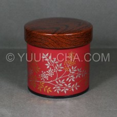 Red Nanten Tea Canister