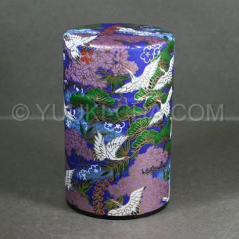 Blue Tsuru Washi Green Tea Canister