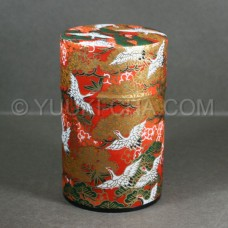 Red Tsuru Washi Green Tea Canister