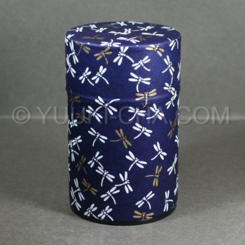 Blue Dragonfly Washi Green Tea Canister