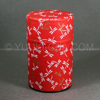 Red Dragonfly Washi Green Tea Canister