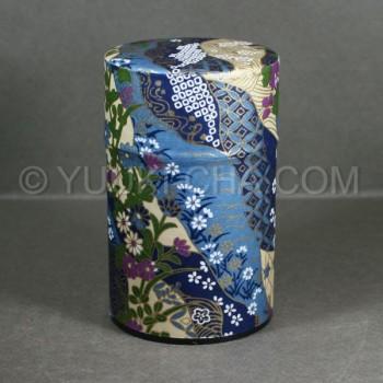 Blue Kiku Washi Green Tea Canister