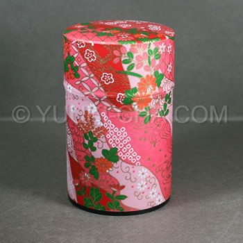 Pink Red Kiku Washi Green Tea Canister