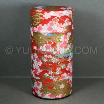 Red Kyoto Landmark Washi Green Tea Canister