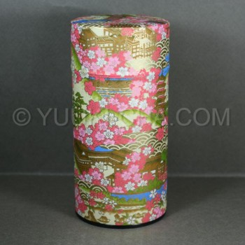 Yellow Kyoto Landmark Washi Green Tea Canister