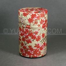 Beige Momiji Washi Green Tea Canister