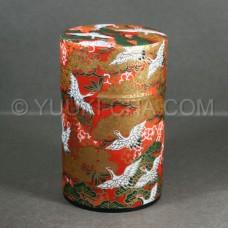 Red Tsuru Washi Green Tea Canister